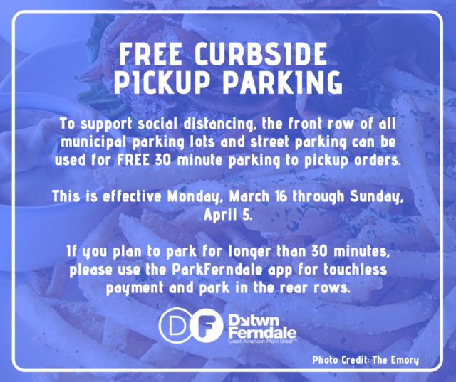 Free Curbside Parking for Food Pickup